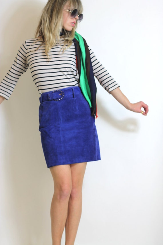 Suede Mini Skirt Electric Blue Suede Skirt Vintage 80s Express