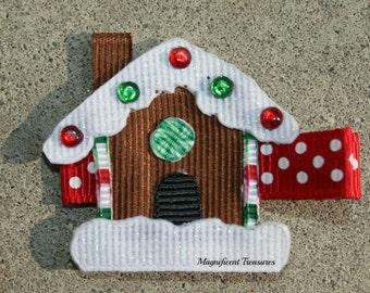 Gingerbread House Ribbon Sculpture Hair Clip or Pin