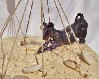 "Seashell Wind Chime Ceramic Sculpture Hand Made Pottery ""Tiki's Day At The Beach"" by Linda Sapp Long"