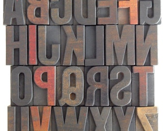 "50% OFF - A to Z - Vintage Letterpress Wood Type Collection - 2"" High- VM016"
