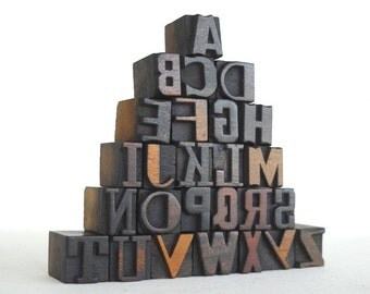 A to Z, 26 Vintage Letterpress Wooden Letters Collection - Mini Series - VM022