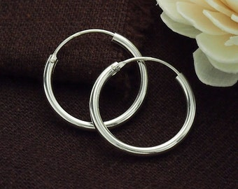 2 pairs of 925 Sterling Silver Hoop Earrings 2x20 mm. :er0879