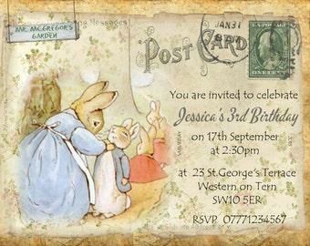 4 x Peter Rabbit Personalised Birthday, Christening Invitations & Envelopes