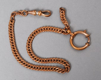 Antique brass chain, pocket watch chain with two clasps