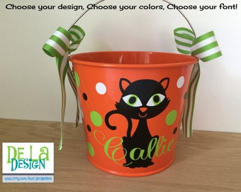 Personalized halloween bucket, 5 quart metal pail, black cat, other colors and designs available, trick or treat bag, candy basket