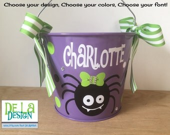 Halloween bucket: Personalized halloween trick or treat metal candy bucket, 5 quart, girl or boy spider, other colors and designs available