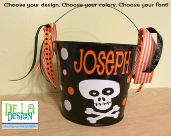 Personalized Halloween basket, 5 quart metal trick or treat metal bucket, pail, candy bag, skull with crossbones, other designs