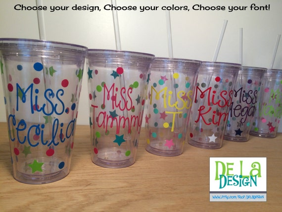 Quantity 15 Personalized w/name acrylic tumbler w/lid - polka dots, Available in skinny, standard, sip top, sport bottle, mason, Vino2go