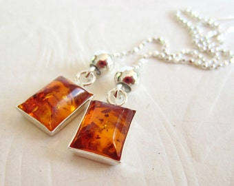 Baltic Amber Drops-Sterling Silver Ear Threads