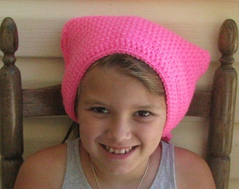 Handmade Hot Pink Hand Crocheted with Scalloped Edge Head Kerchief/ Triangle Scarf