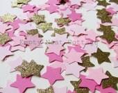 Gold and Pink  Star Confetti, Star Confetti, Twinkle Twinkle, Birthday Confetti, Shower Confetti, Table Confetti Star Confetti Toss