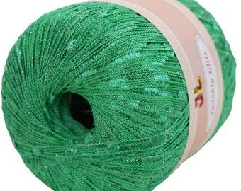 Twinkly Glitz Trellis Yarn col 905 neon green 150 yrds with lurex Christmas free shipping