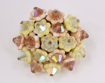 Vintage Signed Japan Pastel Yellow Peach Glass Flower Cluster Aurora Borealis Beaded Spring Blossom Floral Domed Retro Brooch Pin