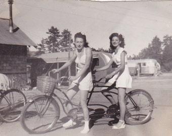 Vintage 1950's Pretty women ride tandem bicycle DIGITAL DOWNLOAD