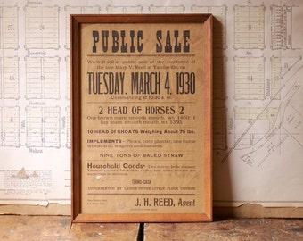 Vintage Framed Public Sale Auction Poster from 1930 - Retro Farmhouse Decor