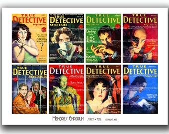 Pulp Fiction Crime Detective Mystery Novels Trash Magazine Covers Retro Digital Paper Kitsch Clipart Printable Download ATC ACEO 705