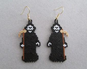 Grim Reaper Earrings in delica seed beads