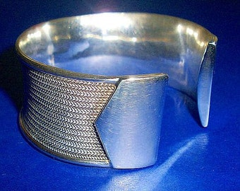 Sterling Silver Bracelet Cuff 925 Wheat Chain