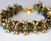 "Dark Green and Ecru Bracelet,""Caterpillar"" Design, Ecru Superduos,Fire Polish,Beadweaving, Olive cuff,Jewelry, Amy Johnson Designs BF2058"