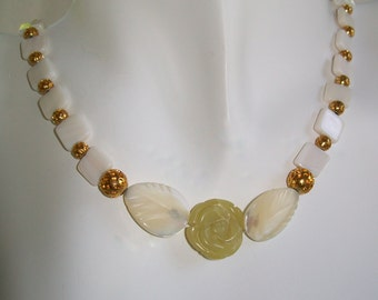 Carved Olive Jade Flower with Carved Mother of Pearl Leaves Necklace