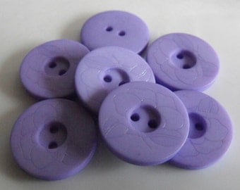 """17 Light Purple Embossed Flower Round Buttons Size 13/16"""""""