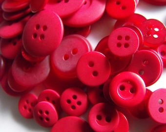 Strawberry Red Buttons, 100 Bulk Assorted Round Multi Size Crafting Sewing Buttons