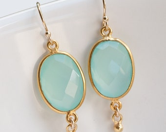Aqua Blue Chalcedony Earrings - Seafoam Green Oval Gemstone Earrings - Gold Earrings - Drop Earrings