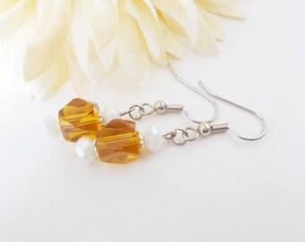 Amber Glass Earrings, White Earrings, Bridal Earrings, Silver and Gold Earrings, Modern Geometric Earrings, Czech Glass Beaded Jewelry