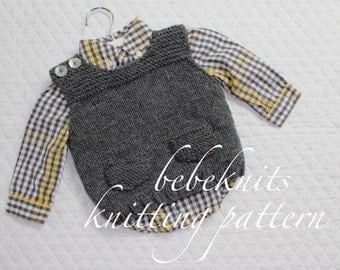 Bebeknits Simple French Style Shoulder Button Baby Vest Knitting Pattern