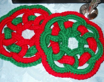 Hand Crocheted Red and Green Hot Pads, Vintage Unused