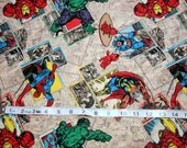 Marvel Avengers Retro Badge print cotton fabric by Springs Creative -  Captain America/Ironman/Avengers/Hulk/ Wolverine/Spiderman