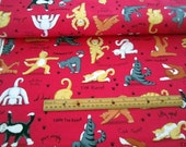 Purrfect Balance Cats Yoga Words Red premium cotton fabric from Quilting Treasures - sold by the yard