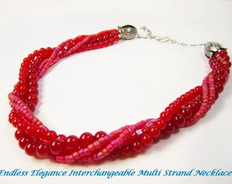 Red Jade Necklace for Interchangeable Multi Strand Collection bright red jade 6 or 8mm true red necklace detachable multi wear necklace
