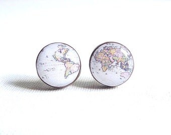 Whole Wide World 3 - Vintage World Map Stud Earrings- Antique World Map- Nickel free stud earrings- Retro Space- Globetrotter