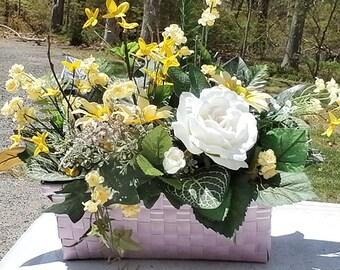 """Lavender & Yellow Silk Flower Arrangement-Lavender Basket 18""""H X 18""""W"""