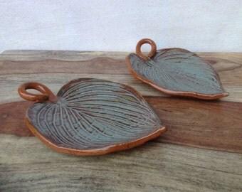 Handmade Ceramic Leaf Dishes / Set of 2 Pottery Hosta Leaf Snack Serving Dishes