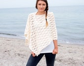 Crochet Pattern waves women poncho woman wrap  beach cover up shawl,  DIY photo tutorial, Instant download