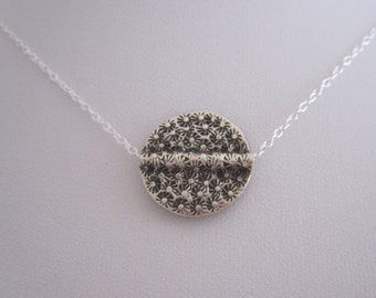Oxidized flower printed DISC COIN sterling silver floating charm necklace, geometric necklace