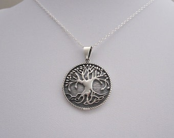 Etched TREE of LIFE with roots sterling silver pendant and necklace chain, organic, nature, woodland jewelry