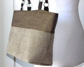 Brown Herringbone Tote Bag