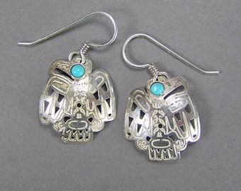 Haida Sterling Earrings, Pacific Northwest, Eagle Earrings, Native American, Tlingit, Salish, Turquoise, Vintage Ethnic