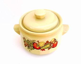 Vintage Bean Pot Casserole Dish Mid century Modern Kitchen Crock Yellow Stoneware Veggie Design 1969 Golden Norleans Gourmet Bake and Serve