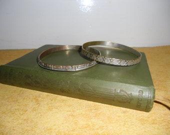 Vintage Bracelets - Textured Metal Bangles, Silvertone Bangle, Copper and Silvertone Bangle