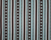 """Michael Miller Cute Button Stripe Teal and Brown fabric 40"""" X 42"""""""