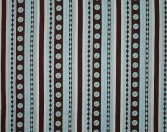 "Michael Miller Cute Button Stripe Teal and Brown fabric 36"" X 22"""