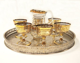 Mid Century Gilded French Liqueur Set