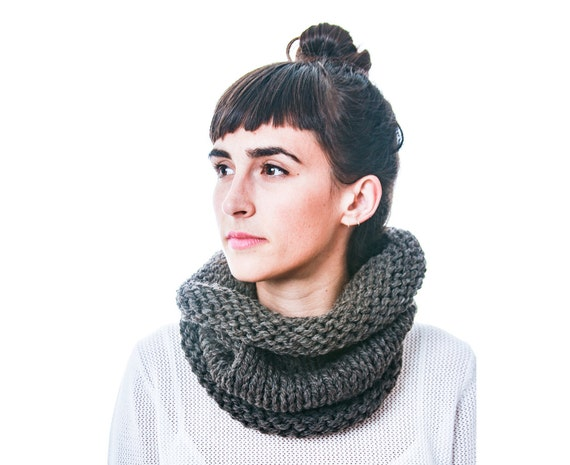 Double Thick Knitted Cowl Scarf in Dark Slate Gray, pure sheep's wool