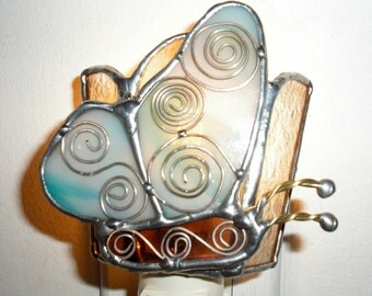LT Stained glass Butterfly night light lamp made with aqua turquoise blue and cream bone opal glass