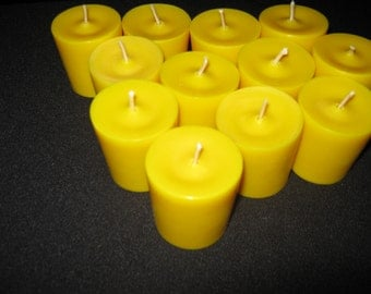 One Dozen Yellow Unscented Soy Votive Candles