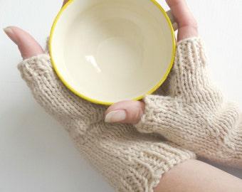 Dark Cream Fingerless Gloves || HANDKNIT || ALPACA WOOL Blend ||Ready to Ship